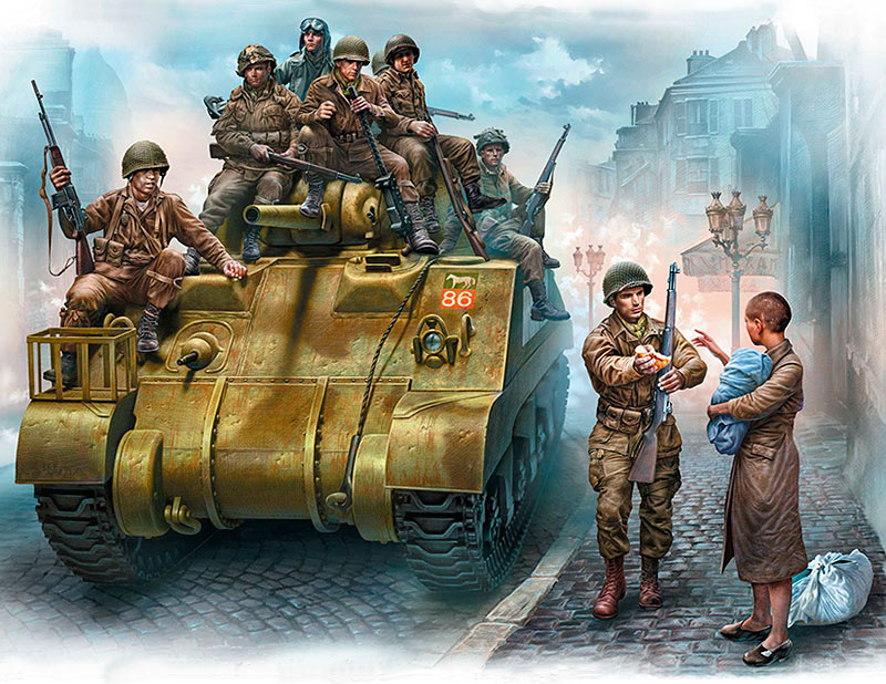 The 101st light company. US Paratroopers & British Tankman, France, 1944 /35164/