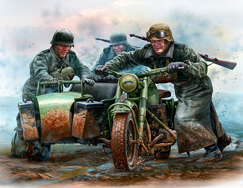 German Motorcyclists, WWII era /35178/